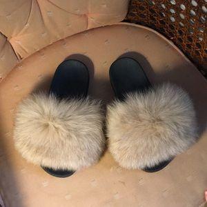 Genuine Fox Fur Slippers